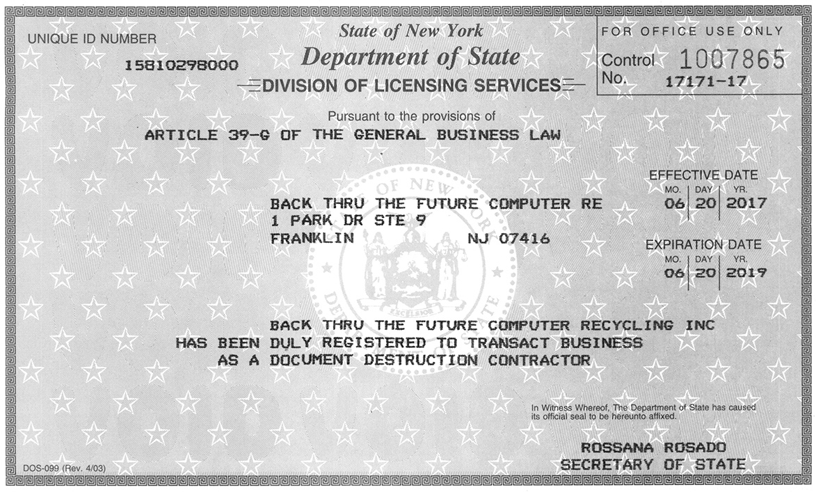 Nys Dls Computer Recycling Destruction Contractor License